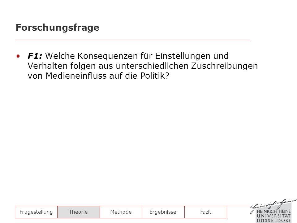 F1: Welche Konsequenzen für Einstellungen und Verhalten folgen aus unterschiedlichen Zuschreibungen von Medieneinfluss auf die Politik? FragestellungT