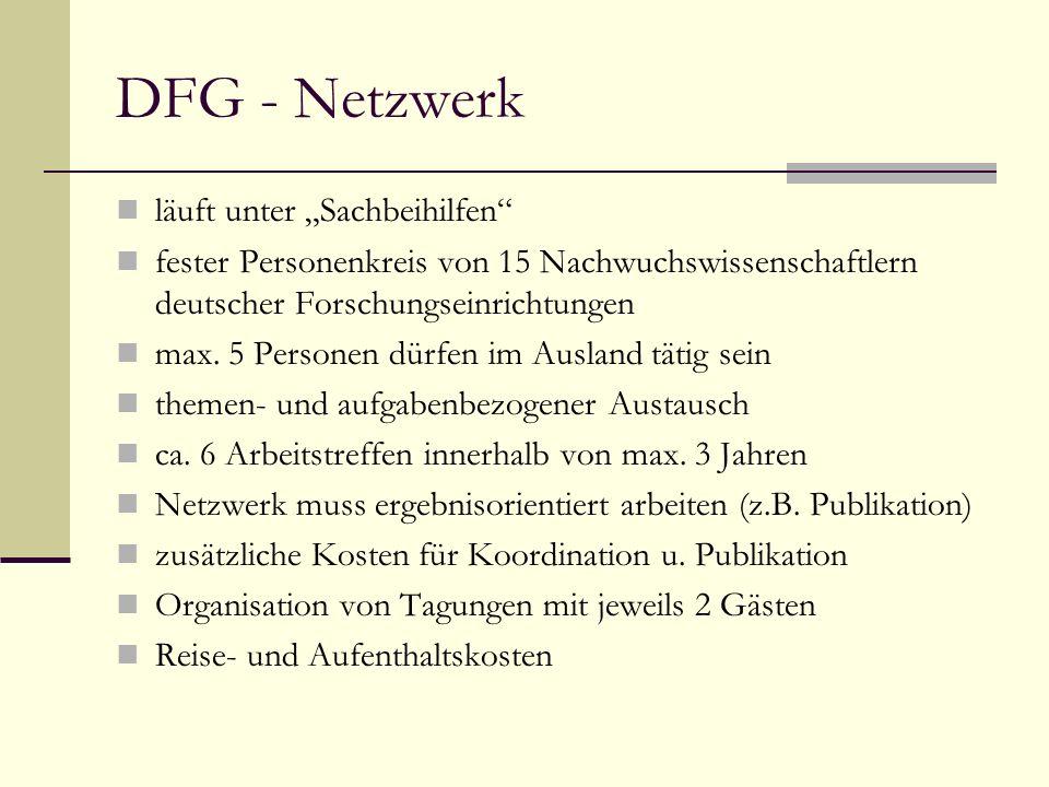 DFG - Netzwerk läuft unter Sachbeihilfen fester Personenkreis von 15 Nachwuchswissenschaftlern deutscher Forschungseinrichtungen max.