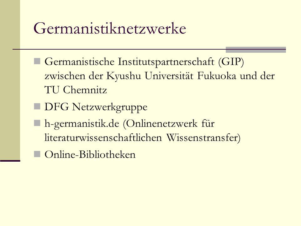 Germanistiknetzwerke Germanistische Institutspartnerschaft (GIP) zwischen der Kyushu Universität Fukuoka und der TU Chemnitz DFG Netzwerkgruppe h-germanistik.de (Onlinenetzwerk für literaturwissenschaftlichen Wissenstransfer) Online-Bibliotheken