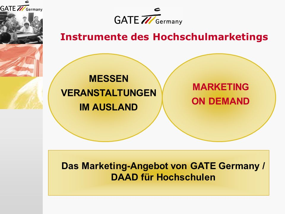 Instrumente des Hochschulmarketings MESSEN VERANSTALTUNGEN IM AUSLAND MARKETING ON DEMAND Das Marketing-Angebot von GATE Germany / DAAD für Hochschule
