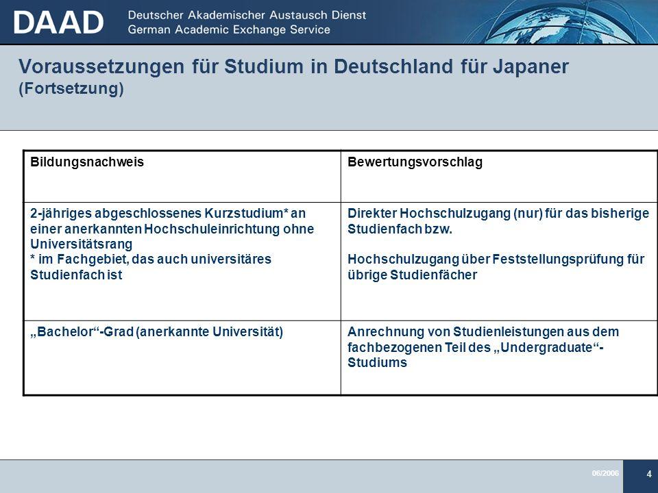 06/2006 4 Voraussetzungen für Studium in Deutschland für Japaner (Fortsetzung) BildungsnachweisBewertungsvorschlag 2-jähriges abgeschlossenes Kurzstud