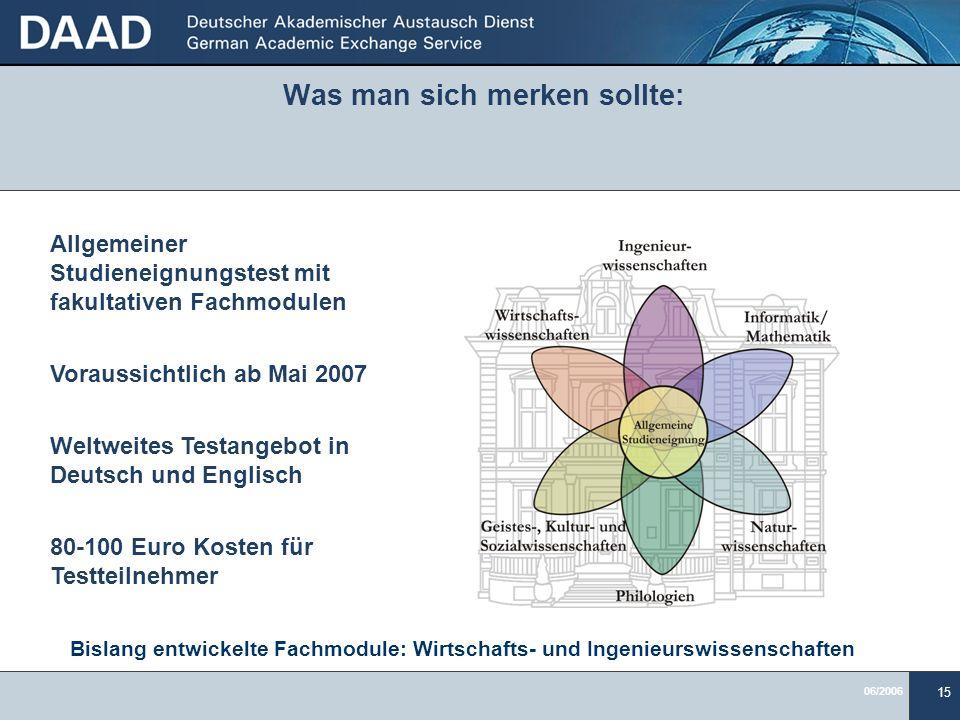 06/2006 15 Was man sich merken sollte: Bislang entwickelte Fachmodule: Wirtschafts- und Ingenieurswissenschaften Allgemeiner Studieneignungstest mit f