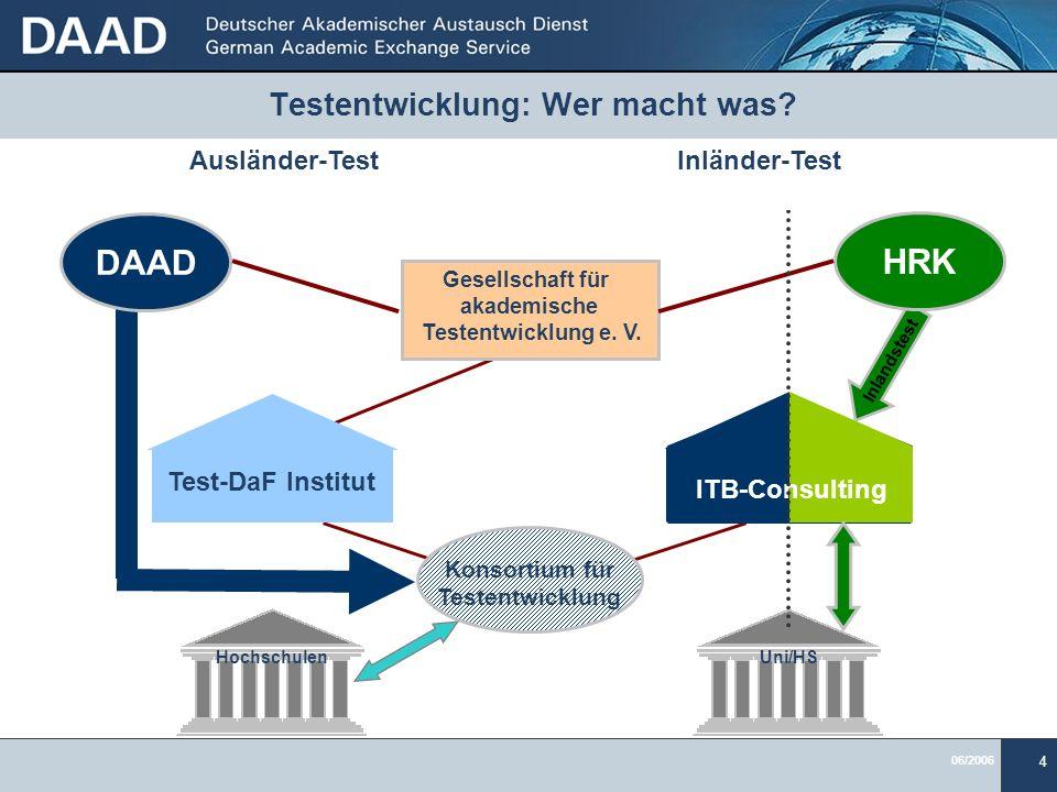 06/2006 4 Testentwicklung: Wer macht was? Inlandstest Gesellschaft für akademische Testentwicklung e. V. ITB-Consulting Test-DaF Institut Konsortium f
