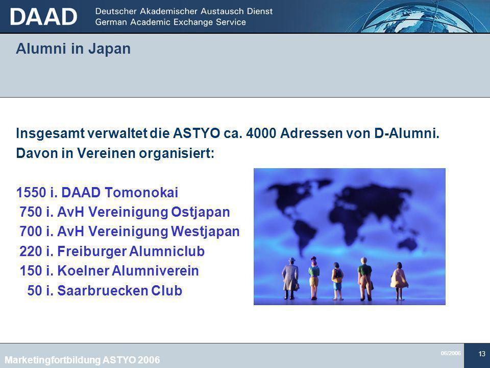 06/2006 13 Alumni in Japan Insgesamt verwaltet die ASTYO ca.