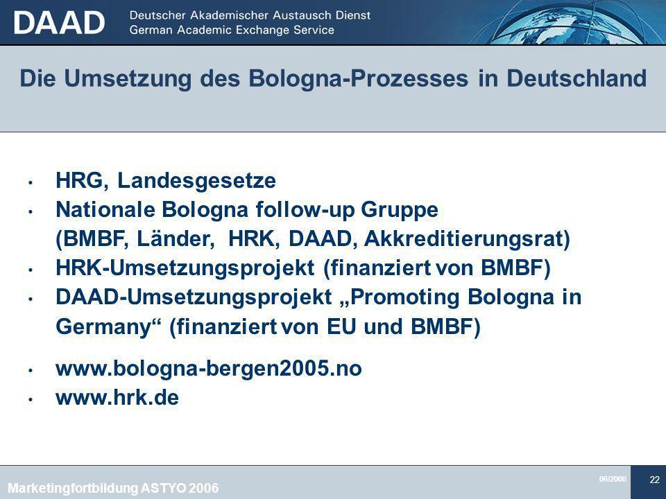 06/2006 22 Die Umsetzung des Bologna-Prozesses in Deutschland HRG, Landesgesetze Nationale Bologna follow-up Gruppe (BMBF, Länder, HRK, DAAD, Akkreditierungsrat) HRK-Umsetzungsprojekt (finanziert von BMBF) DAAD-Umsetzungsprojekt Promoting Bologna in Germany (finanziert von EU und BMBF) www.bologna-bergen2005.no www.hrk.de Marketingfortbildung ASTYO 2006