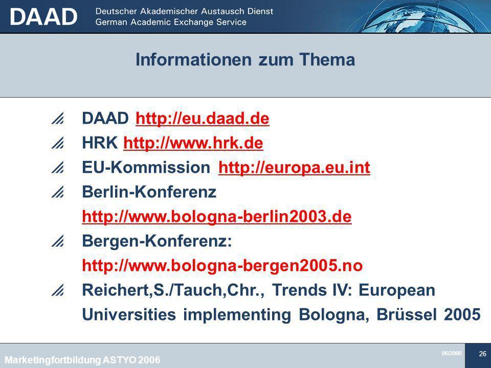 06/2006 26 Informationen zum Thema DAAD http://eu.daad.de HRK http://www.hrk.de EU-Kommission http://europa.eu.int Berlin-Konferenz http://www.bologna-berlin2003.de Bergen-Konferenz: http://www.bologna-bergen2005.no Reichert,S./Tauch,Chr., Trends IV: European Universities implementing Bologna, Brüssel 2005 Marketingfortbildung ASTYO 2006