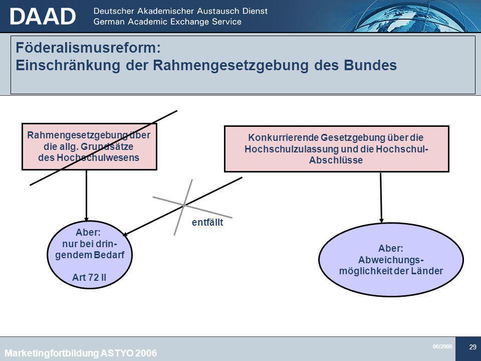 06/2006 29 Föderalismusreform: Einschränkung der Rahmengesetzgebung des Bundes Rahmengesetzgebung über die allg.