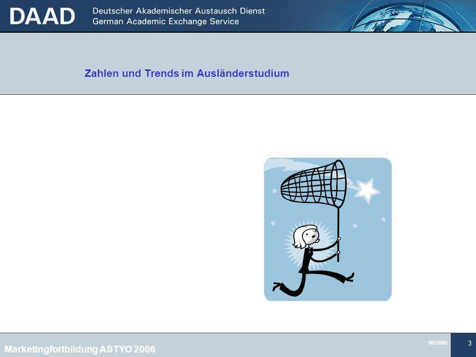 06/2006 3 Zahlen und Trends im Ausländerstudium Marketingfortbildung ASTYO 2006