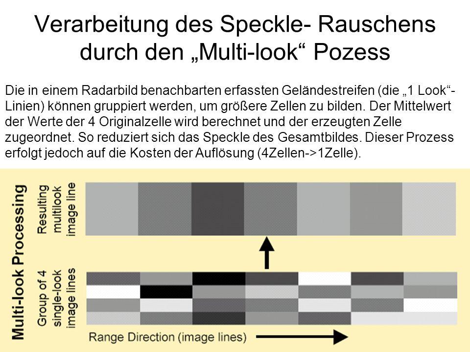 Sylvain Bonnet, Lehrstuhl für mathematische Geologie Verarbeitung des Speckle- Rauschens durch den Multi-look Pozess Die in einem Radarbild benachbarten erfassten Geländestreifen (die 1 Look- Linien) können gruppiert werden, um größere Zellen zu bilden.