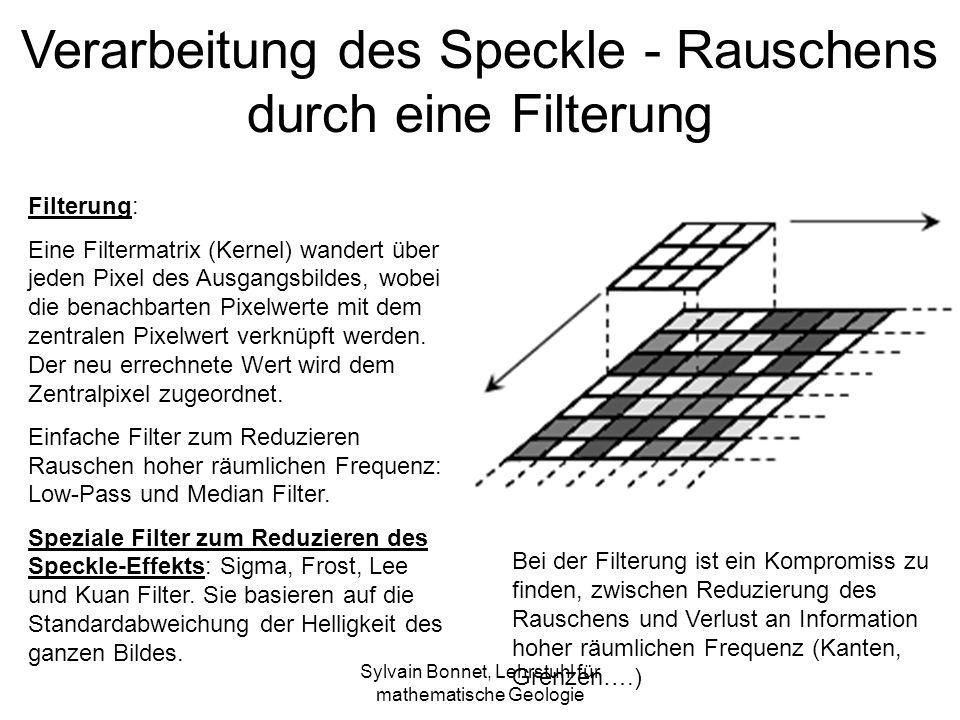 Sylvain Bonnet, Lehrstuhl für mathematische Geologie Verarbeitung des Speckle - Rauschens durch eine Filterung Filterung: Eine Filtermatrix (Kernel) wandert über jeden Pixel des Ausgangsbildes, wobei die benachbarten Pixelwerte mit dem zentralen Pixelwert verknüpft werden.