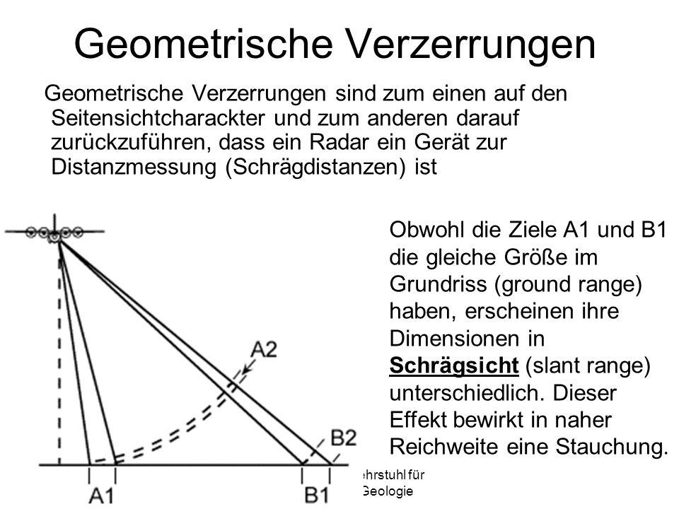 Sylvain Bonnet, Lehrstuhl für mathematische Geologie Geometrische Verzerrungen Geometrische Verzerrungen sind zum einen auf den Seitensichtcharackter und zum anderen darauf zurückzuführen, dass ein Radar ein Gerät zur Distanzmessung (Schrägdistanzen) ist Obwohl die Ziele A1 und B1 die gleiche Größe im Grundriss (ground range) haben, erscheinen ihre Dimensionen in Schrägsicht (slant range) unterschiedlich.