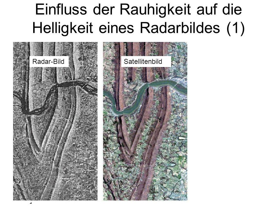 Sylvain Bonnet, Lehrstuhl für mathematische Geologie Einfluss der Rauhigkeit auf die Helligkeit eines Radarbildes (1) Radar-BildSatellitenbild