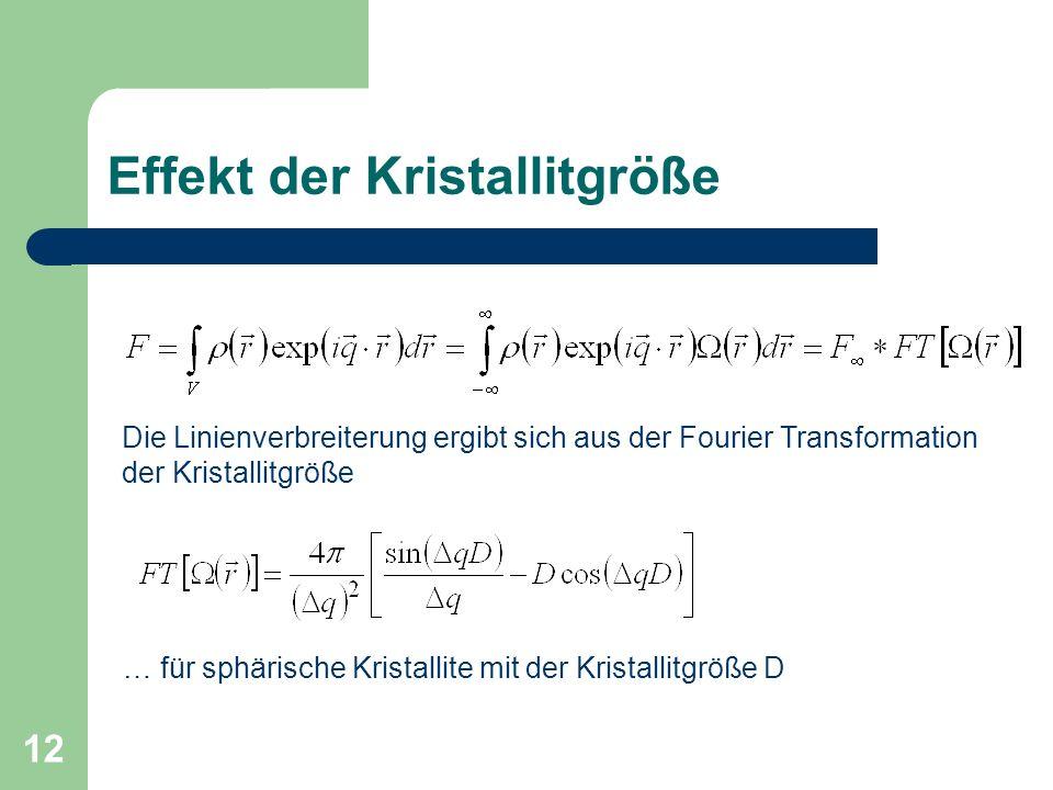 12 Effekt der Kristallitgröße Die Linienverbreiterung ergibt sich aus der Fourier Transformation der Kristallitgröße … für sphärische Kristallite mit der Kristallitgröße D