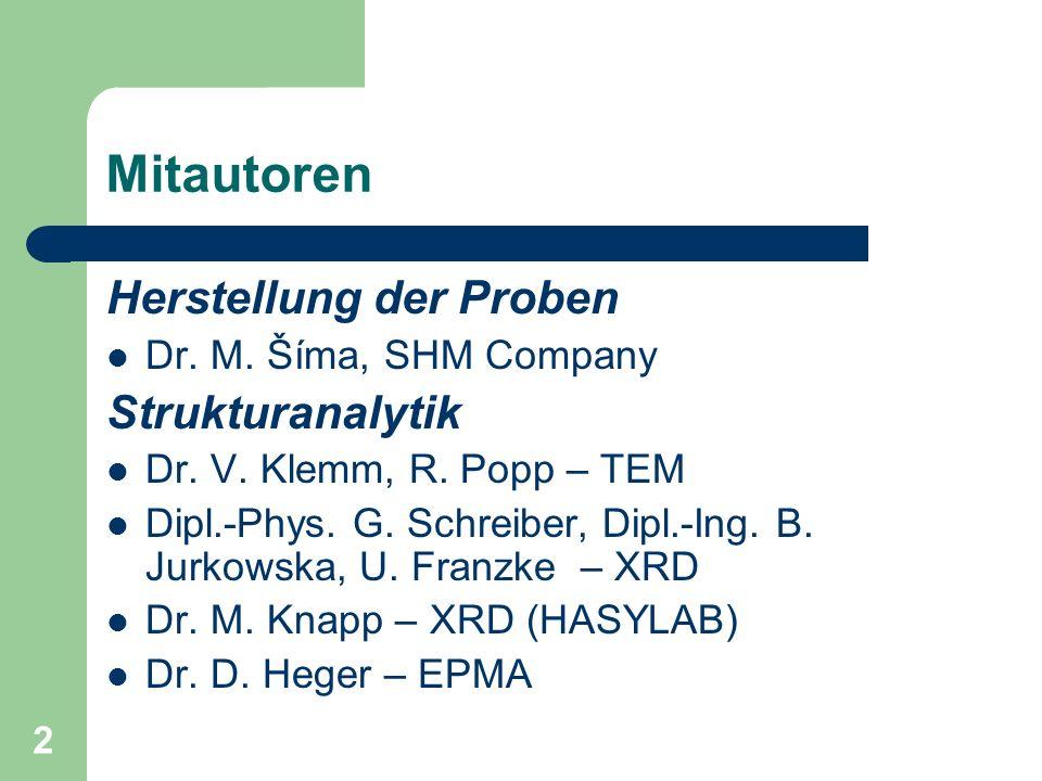 2 Mitautoren Herstellung der Proben Dr.M. Šíma, SHM Company Strukturanalytik Dr.