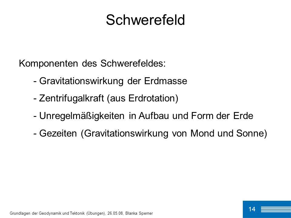 14 Schwerefeld Grundlagen der Geodynamik und Tektonik (Übungen), 26.05.08, Blanka Sperner Komponenten des Schwerefeldes: - Gravitationswirkung der Erd