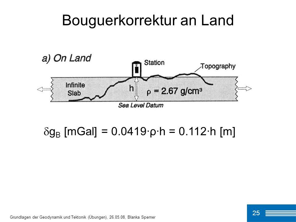 25 Bouguerkorrektur an Land Grundlagen der Geodynamik und Tektonik (Übungen), 26.05.08, Blanka Sperner g B [mGal] = 0.0419·ρ·h = 0.112·h [m]