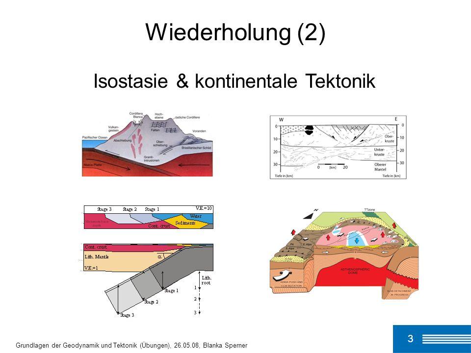 3 Grundlagen der Geodynamik und Tektonik (Übungen), 26.05.08, Blanka Sperner Wiederholung (2) Isostasie & kontinentale Tektonik