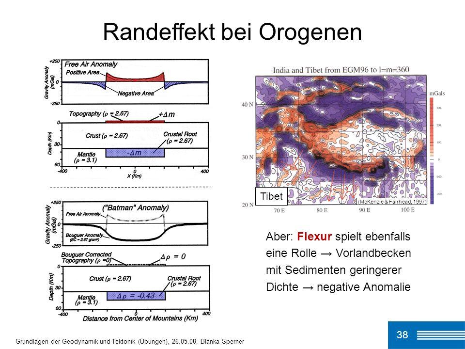 Randeffekt bei Orogenen 38 Grundlagen der Geodynamik und Tektonik (Übungen), 26.05.08, Blanka Sperner Tibet (McKenzie & Fairhead, 1997) Aber: Flexur s