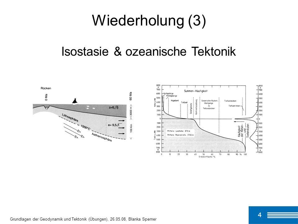 4 Grundlagen der Geodynamik und Tektonik (Übungen), 26.05.08, Blanka Sperner Wiederholung (3) Isostasie & ozeanische Tektonik