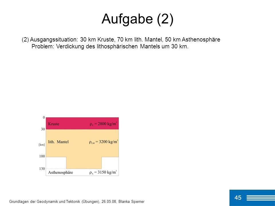 (2) Ausgangssituation: 30 km Kruste, 70 km lith. Mantel, 50 km Asthenosphäre Problem: Verdickung des lithosphärischen Mantels um 30 km. Aufgabe (2) 45