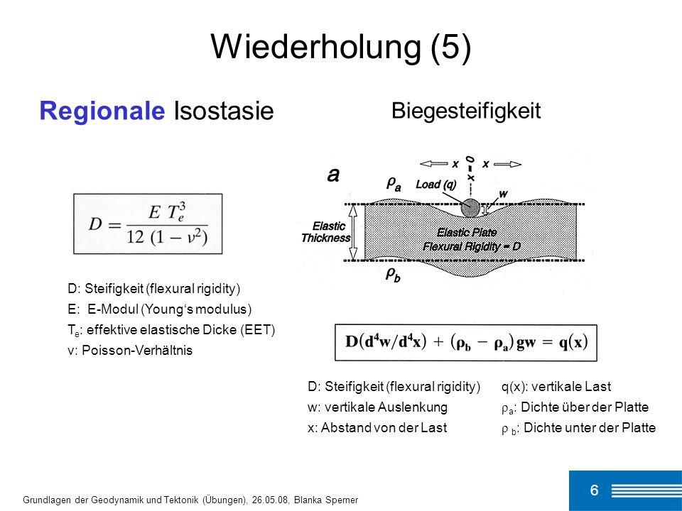 D: Steifigkeit (flexural rigidity) E: E-Modul (Youngs modulus) T e : effektive elastische Dicke (EET) ν: Poisson-Verhältnis q(x): vertikale Last ρ a :
