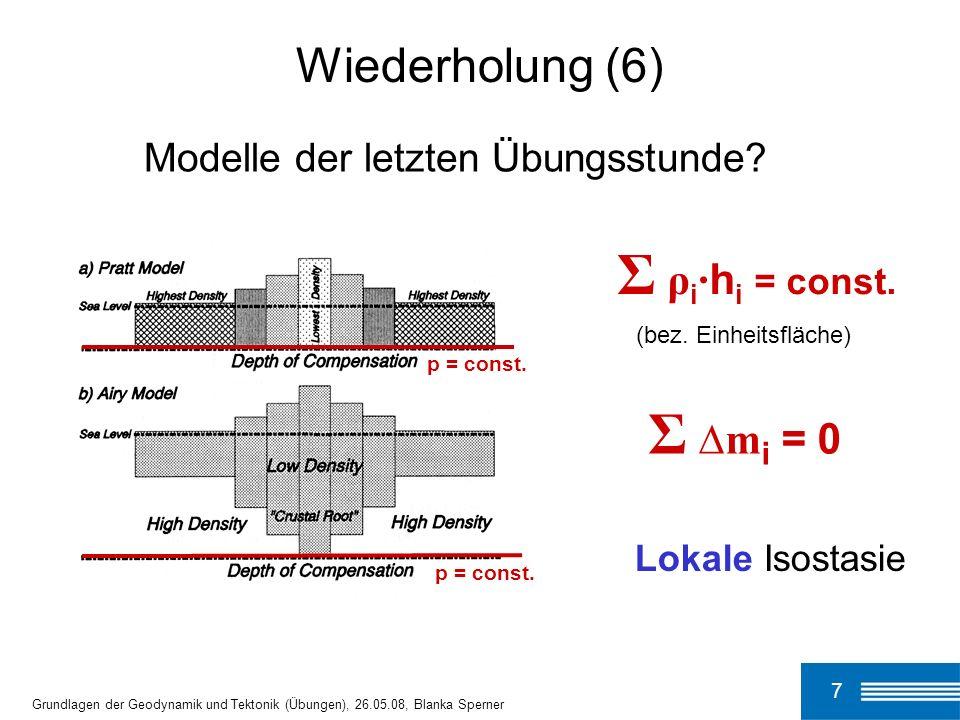 7 Grundlagen der Geodynamik und Tektonik (Übungen), 26.05.08, Blanka Sperner p = const. Wiederholung (6) Σ ρ i · h i = const. (bez. Einheitsfläche) Σ