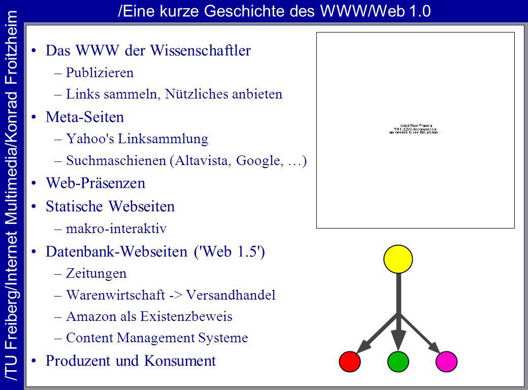 /Eine kurze Geschichte des WWW/Web 1.0 Das WWW der Wissenschaftler –Publizieren –Links sammeln, Nützliches anbieten Meta-Seiten –Yahoo s Linksammlung –Suchmaschienen (Altavista, Google, …) Web-Präsenzen Statische Webseiten –makro-interaktiv Datenbank-Webseiten ( Web 1.5 ) –Zeitungen –Warenwirtschaft -> Versandhandel –Amazon als Existenzbeweis –Content Management Systeme Produzent und Konsument