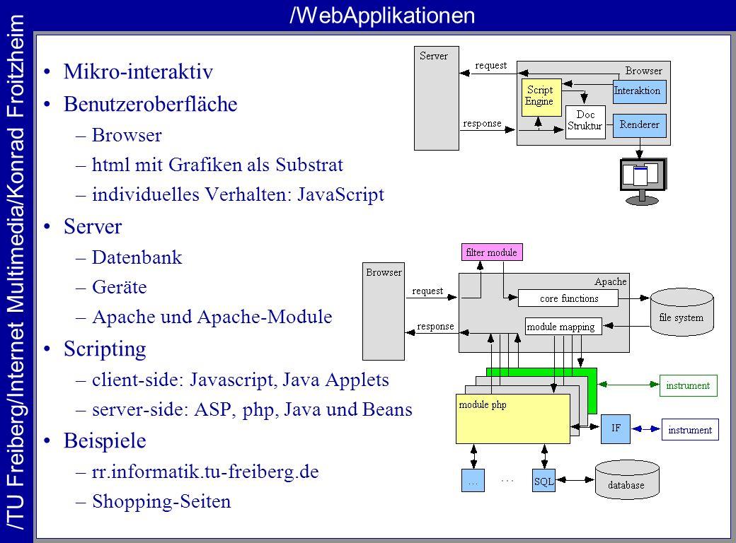 /TU Freiberg/Internet Multimedia/Konrad Froitzheim /WebApplikationen Mikro-interaktiv Benutzeroberfläche –Browser –html mit Grafiken als Substrat –individuelles Verhalten: JavaScript Server –Datenbank –Geräte –Apache und Apache-Module Scripting –client-side: Javascript, Java Applets –server-side: ASP, php, Java und Beans Beispiele –rr.informatik.tu-freiberg.de –Shopping-Seiten