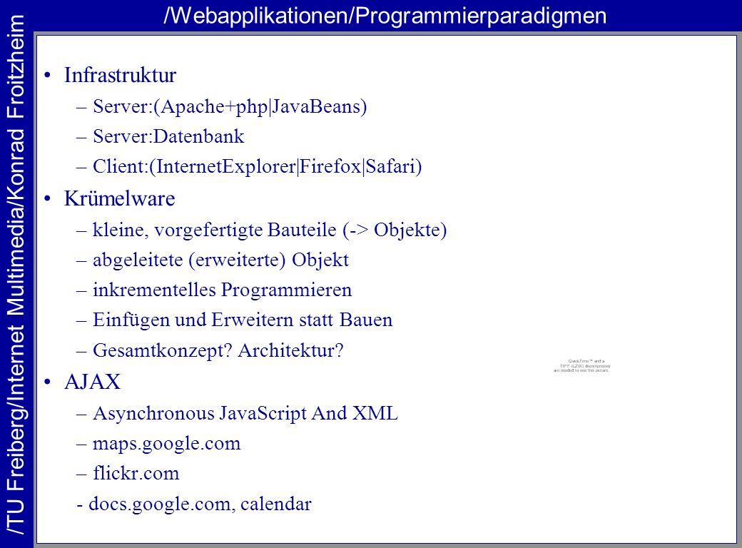 /TU Freiberg/Internet Multimedia/Konrad Froitzheim /Webapplikationen/Programmierparadigmen Infrastruktur –Server:(Apache+php|JavaBeans) –Server:Datenbank –Client:(InternetExplorer|Firefox|Safari) Krümelware –kleine, vorgefertigte Bauteile (-> Objekte) –abgeleitete (erweiterte) Objekt –inkrementelles Programmieren –Einfügen und Erweitern statt Bauen –Gesamtkonzept.