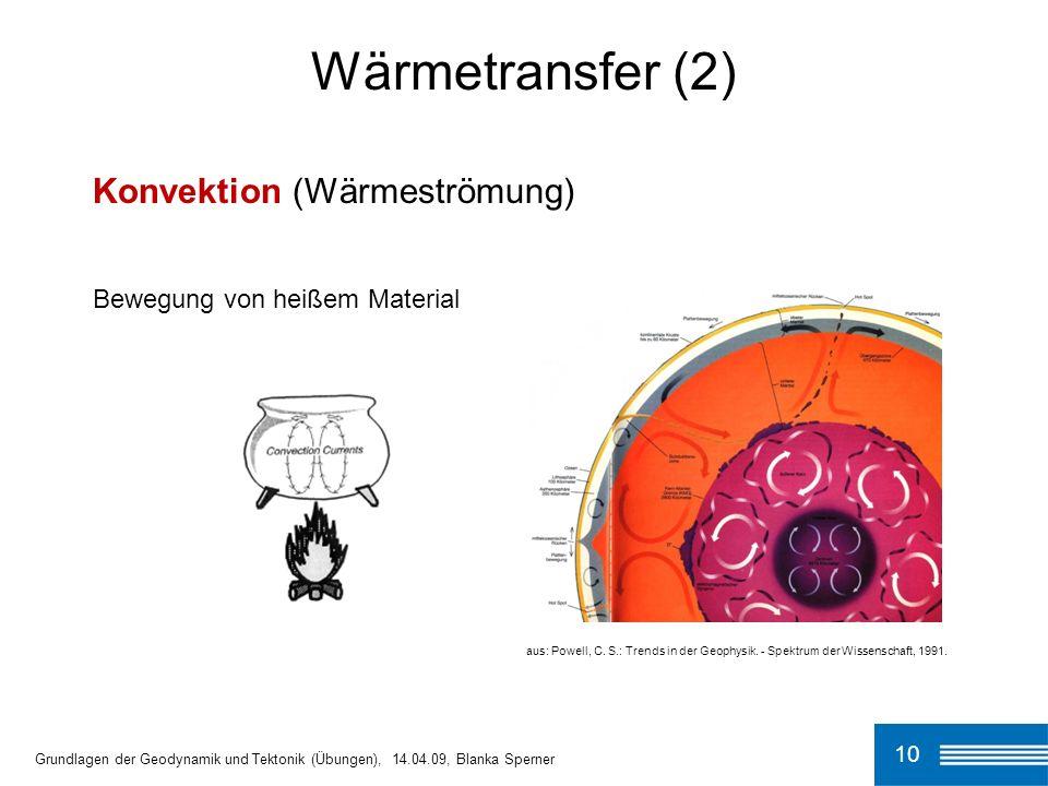 10 Wärmetransfer (2) Grundlagen der Geodynamik und Tektonik (Übungen), 14.04.09, Blanka Sperner Konvektion (Wärmeströmung) Bewegung von heißem Materia