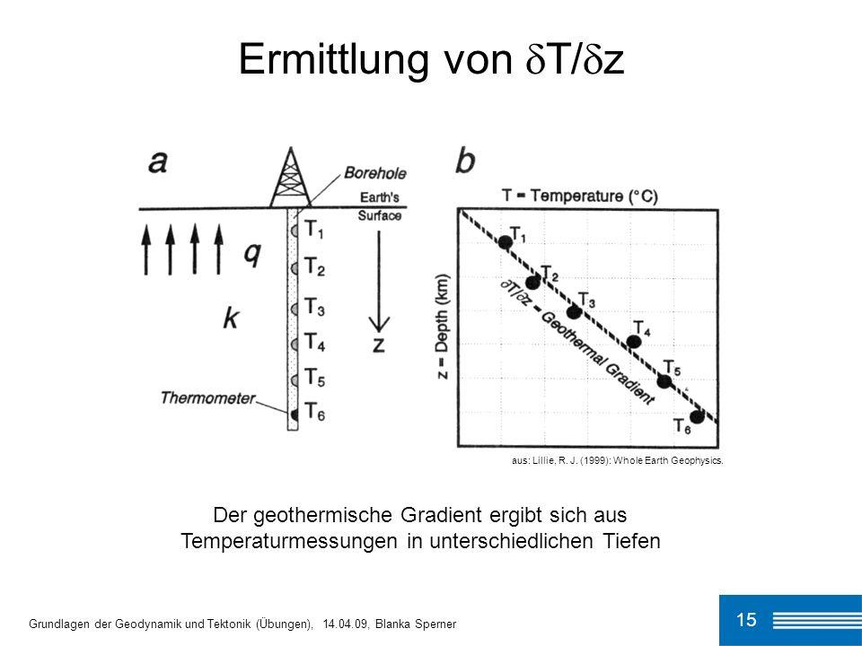 15 Ermittlung von T/ z Grundlagen der Geodynamik und Tektonik (Übungen), 14.04.09, Blanka Sperner aus: Lillie, R. J. (1999): Whole Earth Geophysics. D