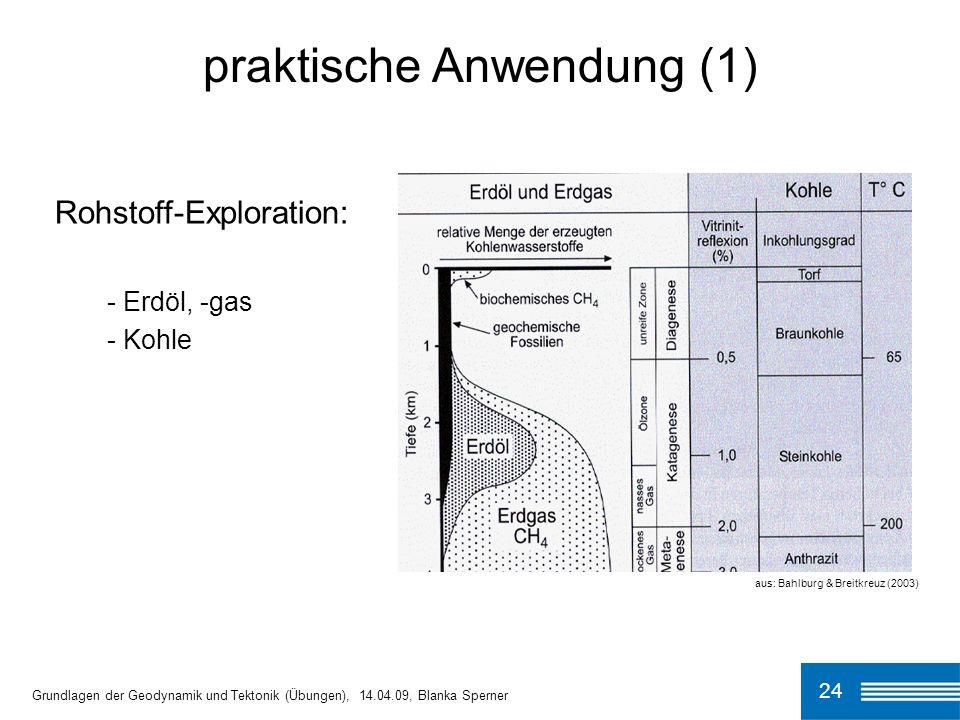 24 praktische Anwendung (1) Grundlagen der Geodynamik und Tektonik (Übungen), 14.04.09, Blanka Sperner Rohstoff-Exploration: - Erdöl, -gas - Kohle aus