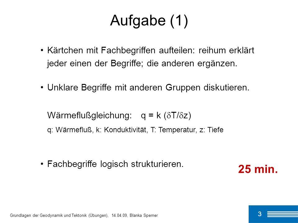 14 q = k ( T/ z) Wärmeflußgleichung q: Wärmefluß k: thermische Konduktivität (Wärmeleitfähigkeit) T/ z: geothermischer Gradient Grundlagen der Geodynamik und Tektonik (Übungen), 14.04.09, Blanka Sperner aus: Lillie, R.