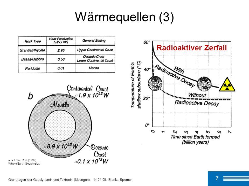 8 Wärmequellen (4) Grundlagen der Geodynamik und Tektonik (Übungen), 14.04.09, Blanka Sperner Restwärme: Erde10 x 10 12 W25% Gesamt42 x 10 12 W100% aus: Lillie, R.