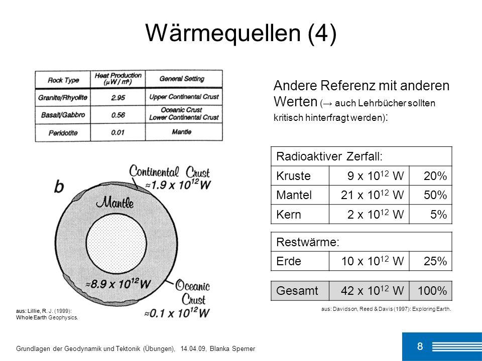 8 Wärmequellen (4) Grundlagen der Geodynamik und Tektonik (Übungen), 14.04.09, Blanka Sperner Restwärme: Erde10 x 10 12 W25% Gesamt42 x 10 12 W100% au