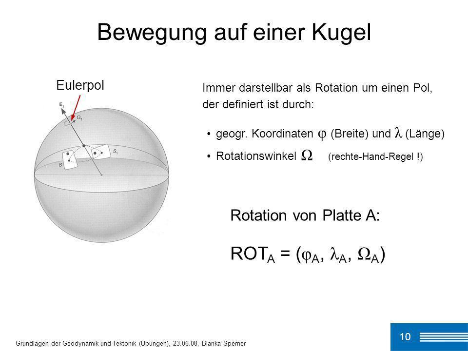 10 Grundlagen der Geodynamik und Tektonik (Übungen), 23.06.08, Blanka Sperner Bewegung auf einer Kugel Immer darstellbar als Rotation um einen Pol, de