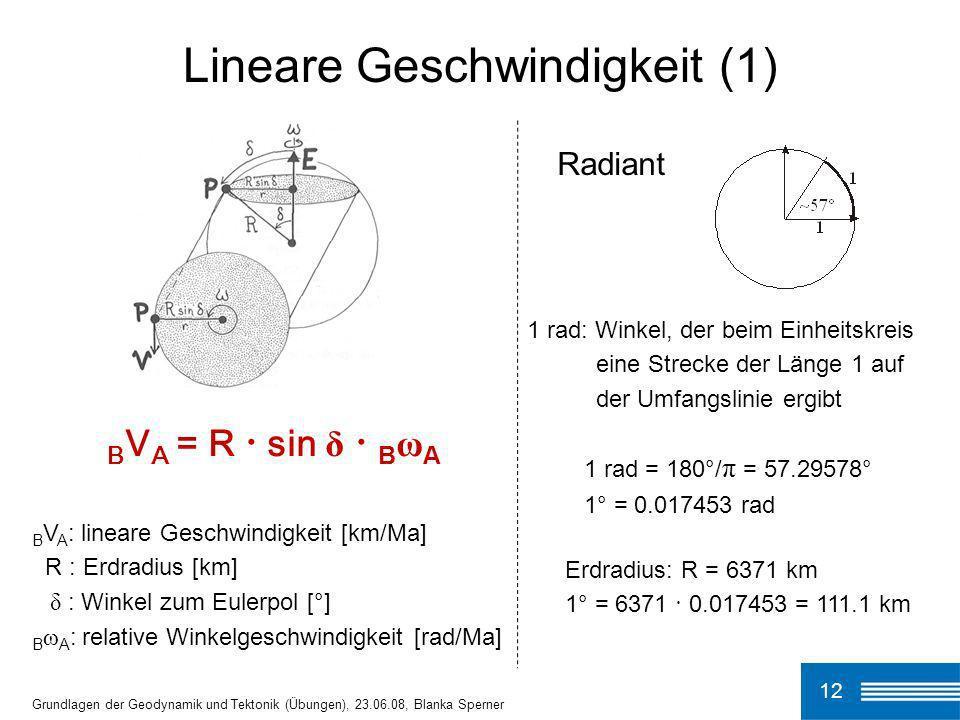 12 Grundlagen der Geodynamik und Tektonik (Übungen), 23.06.08, Blanka Sperner Lineare Geschwindigkeit (1) B V A = R · sin δ · B ω A B V A : lineare Ge