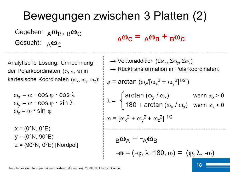 18 Grundlagen der Geodynamik und Tektonik (Übungen), 23.06.08, Blanka Sperner Bewegungen zwischen 3 Platten (2) Gegeben: A ω B, B ω C Gesucht: A ω C A