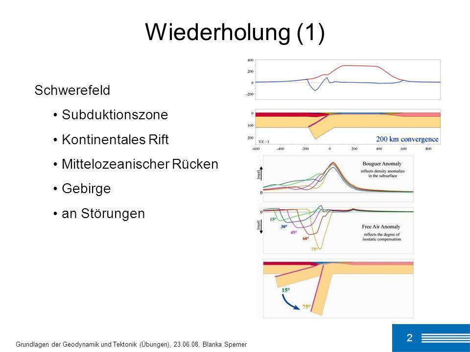 2 Grundlagen der Geodynamik und Tektonik (Übungen), 23.06.08, Blanka Sperner Wiederholung (1) Schwerefeld Subduktionszone Kontinentales Rift Mitteloze