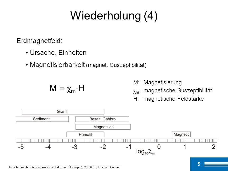 5 Grundlagen der Geodynamik und Tektonik (Übungen), 23.06.08, Blanka Sperner Wiederholung (4) Erdmagnetfeld: Ursache, Einheiten Magnetisierbarkeit (ma