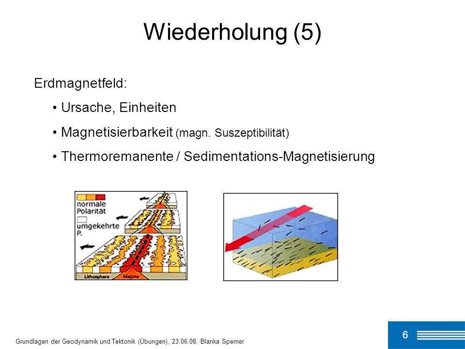 6 Grundlagen der Geodynamik und Tektonik (Übungen), 23.06.08, Blanka Sperner Wiederholung (5) Erdmagnetfeld: Ursache, Einheiten Magnetisierbarkeit (ma