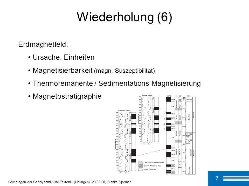 7 Grundlagen der Geodynamik und Tektonik (Übungen), 23.06.08, Blanka Sperner Wiederholung (6) Erdmagnetfeld: Ursache, Einheiten Magnetisierbarkeit (ma