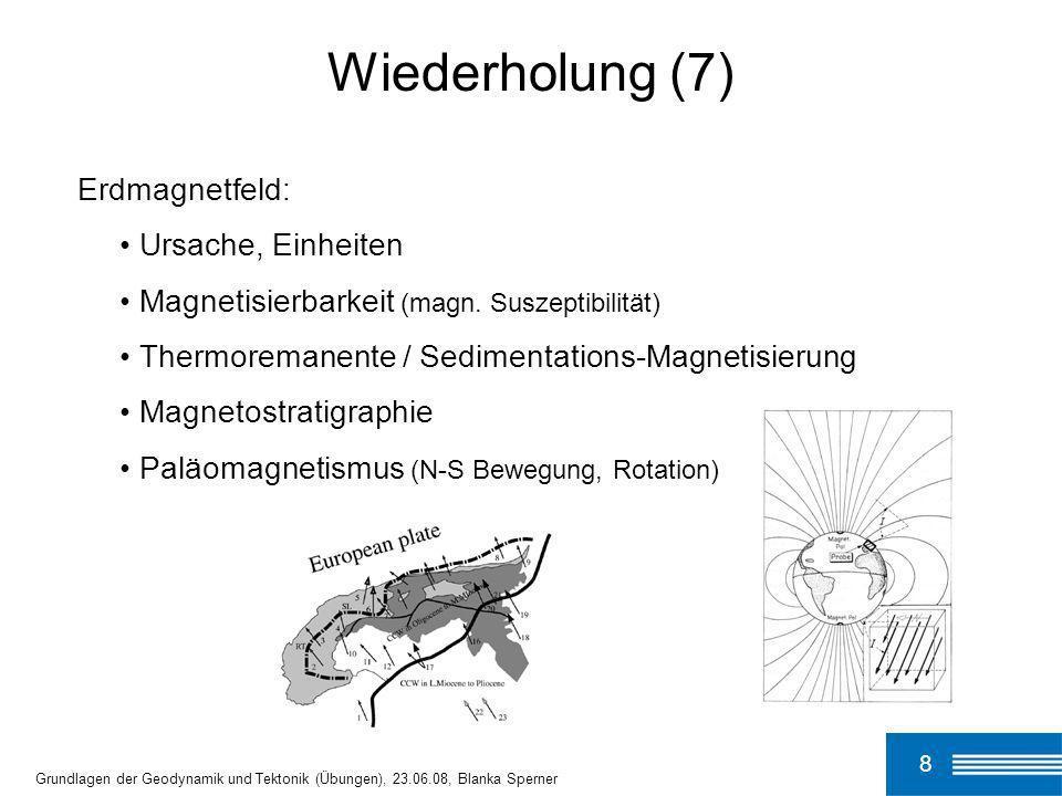 8 Grundlagen der Geodynamik und Tektonik (Übungen), 23.06.08, Blanka Sperner Wiederholung (7) Erdmagnetfeld: Ursache, Einheiten Magnetisierbarkeit (ma