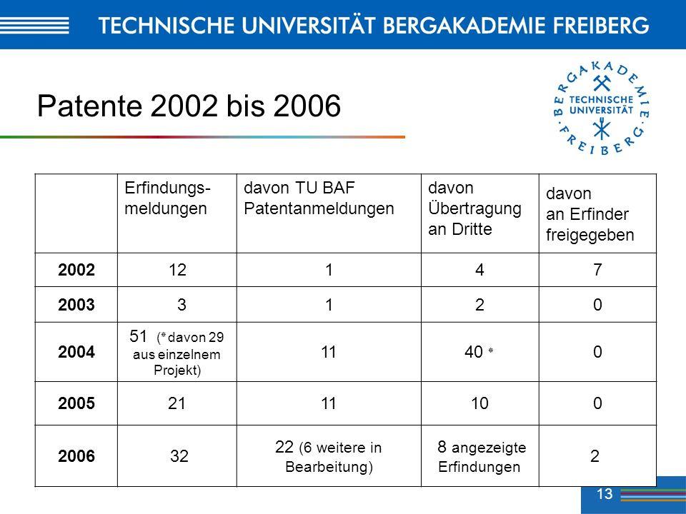 13 Patente 2002 bis 2006 Erfindungs- meldungen davon TU BAF Patentanmeldungen davon Übertragung an Dritte davon an Erfinder freigegeben 200212147 2003