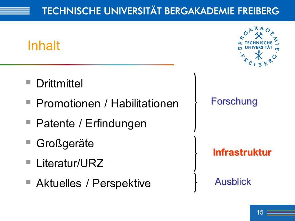 15 Inhalt Drittmittel Promotionen / Habilitationen Patente / Erfindungen Großgeräte Literatur/URZ Aktuelles / Perspektive Forschung Infrastruktur Ausb