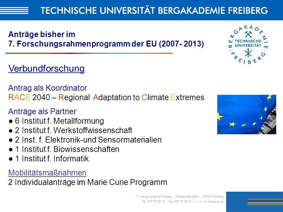 27 TU Bergakademie Freiberg I Akademiestraße 6 I 09596 Freiberg Tel. 0 37 31/39-0 I Fax 0 37 31/39-0 I I www.tu-freiberg.de Anträge bisher im 7. Forsc