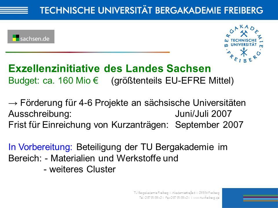 28 TU Bergakademie Freiberg I Akademiestraße 6 I 09596 Freiberg Tel. 0 37 31/39-0 I Fax 0 37 31/39-0 I I www.tu-freiberg.de Exzellenzinitiative des La