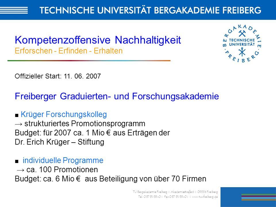 29 TU Bergakademie Freiberg I Akademiestraße 6 I 09596 Freiberg Tel. 0 37 31/39-0 I Fax 0 37 31/39-0 I I www.tu-freiberg.de Kompetenzoffensive Nachhal