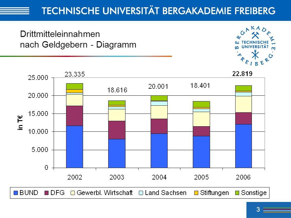 4 Drittmittel 2006 : Geldgeber GeldgeberBetrag TAnteil Bund 12.136 53.2 % Gewerbliche Wirtschaft 4.602 20.2 % DFG 3.166 13.8 % Land Sachsen 1.043 4.5 % Sonstige 800 3.5 % Intern.