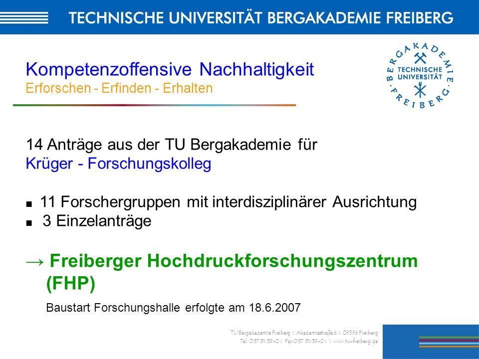 30 TU Bergakademie Freiberg I Akademiestraße 6 I 09596 Freiberg Tel. 0 37 31/39-0 I Fax 0 37 31/39-0 I I www.tu-freiberg.de Kompetenzoffensive Nachhal